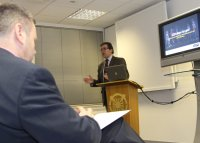 Mark Hunter MP presenting to local Stockport business